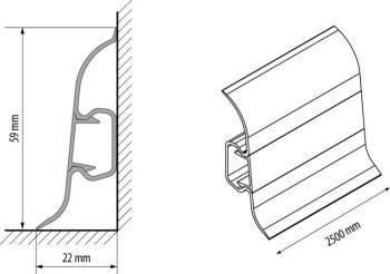 Плинтус пластиковый CEZAR Premium матовый Тик Тёмный М085