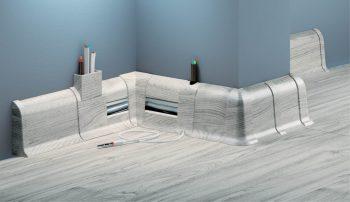 Плинтус пластиковый CEZAR Premium матовый Дуб серый светлый M078
